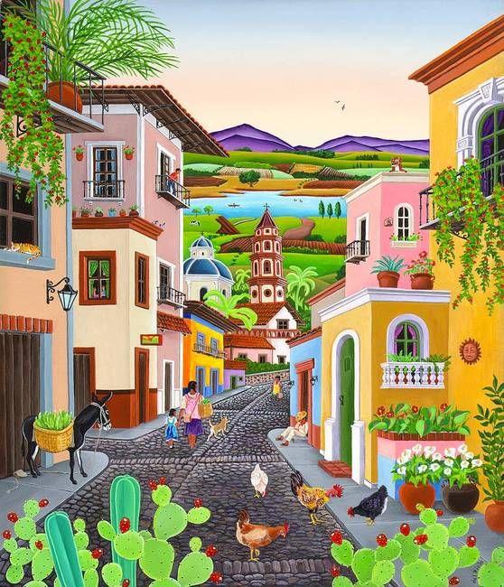 Mi Pueblo By Raul Del Rio Nature Art Prints Mexican Paintings Mexican Art
