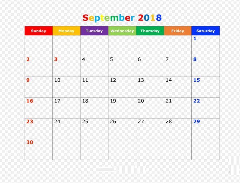 Printable September 2018 Colorful Calendar Free Printable Calendar 2018 Printable Calendar Printable Calendar Word