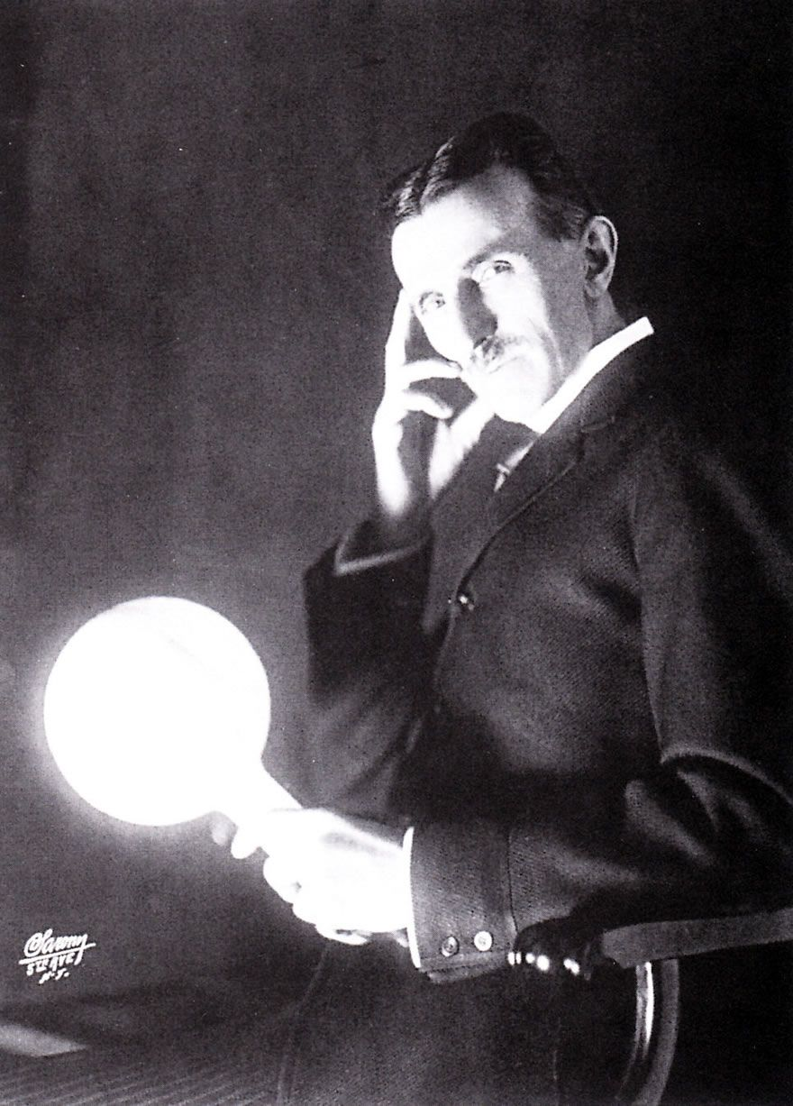 Tesla With One Of His Famous Quot Wireless Quot Lamps Published