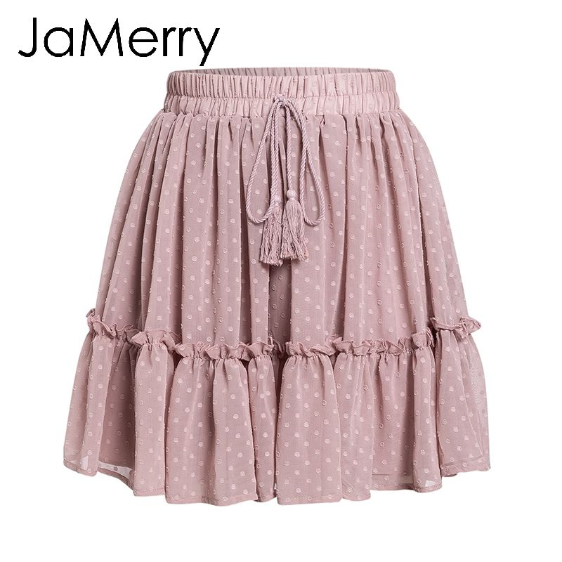 8b079a39c4 Aliexpress.com : Buy JaMerry Boho print mini short women skirt High waist  polka dot