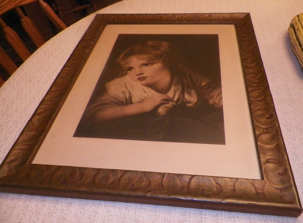 Gorgeous Antique Print Victorian Girl Antique Gold Toned Wood Frame ...
