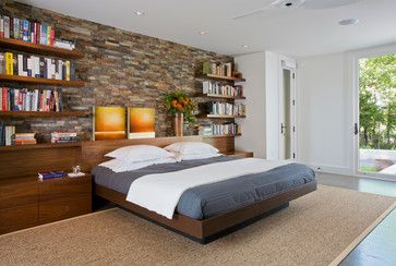 Master Bedroom With Built In Headboard And Storage Contemporary