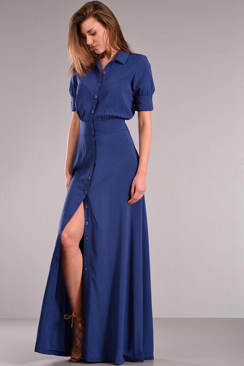 c6fe30c663c0 Φόρεμα μακρύ με κουμπιά