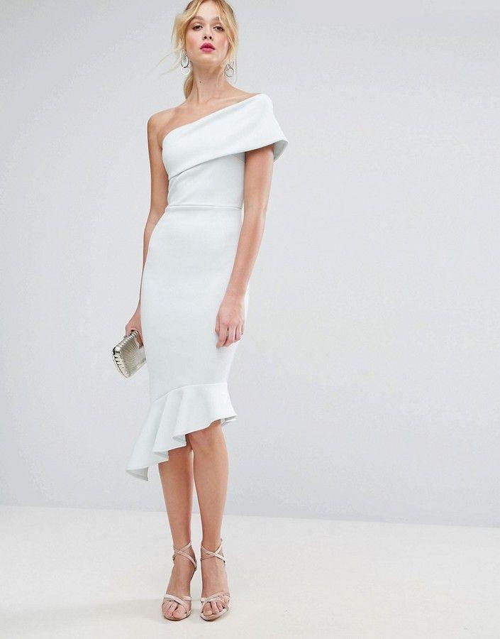 01b35f3a912c Asos Scuba One Shoulder Pephem Midi Dress