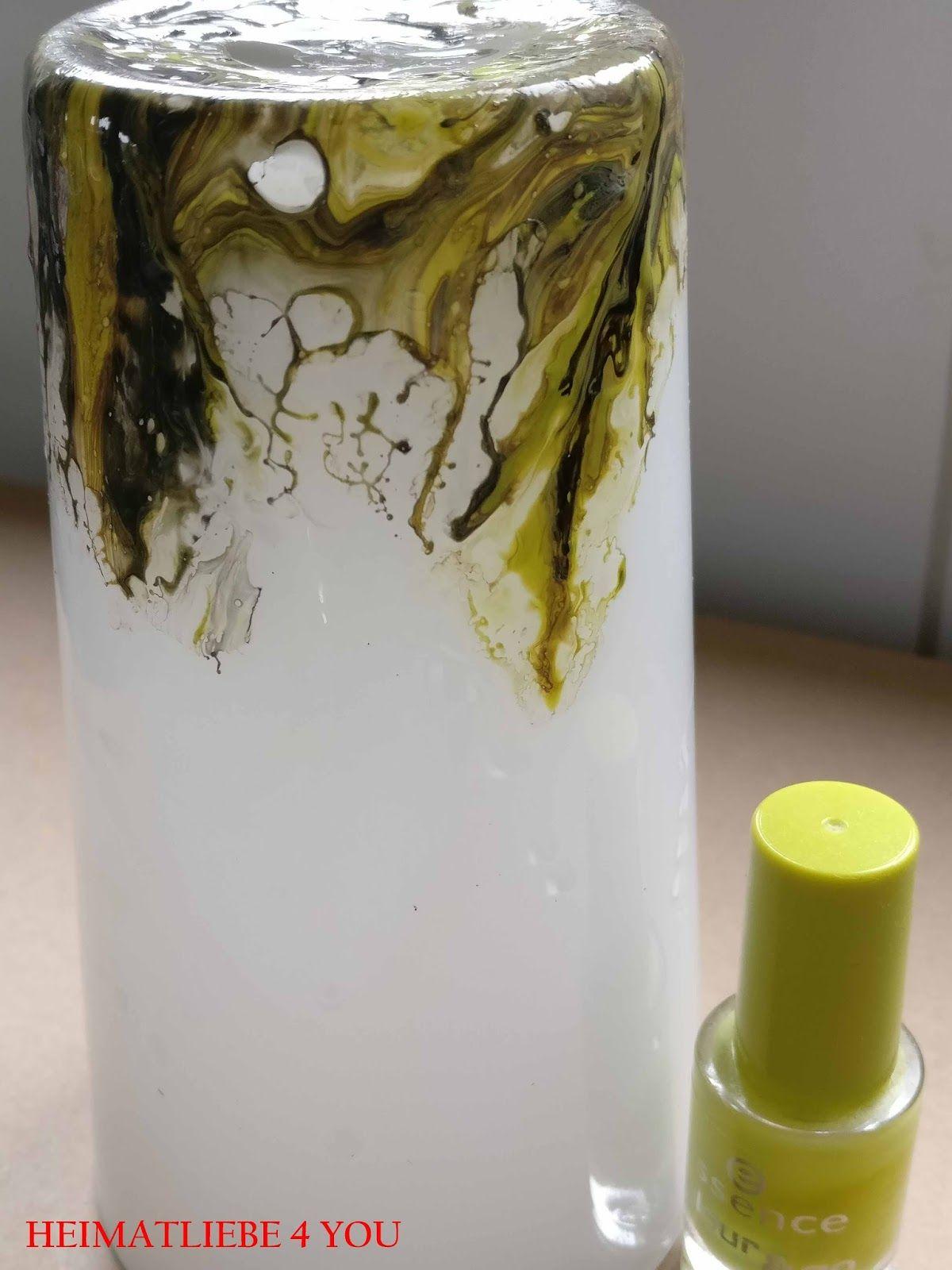 Marmorieren Basteln Diy Nagellack Reste Upcycling Wasser Vase