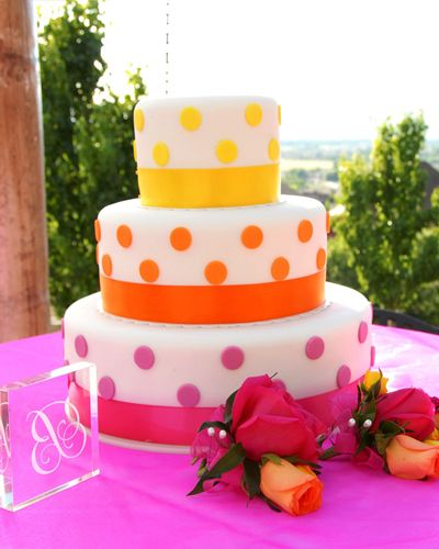 Pink orange yellow polka dot cake CAKE ONE HUNDRED SEVENTY ONE, Wedding Cakes by Dawna, LLC