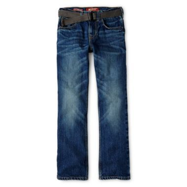 Arizona Belted Straight-Fit Fashion Jeans - Boys 6-18, Slim and Husky  found at @JCPenney