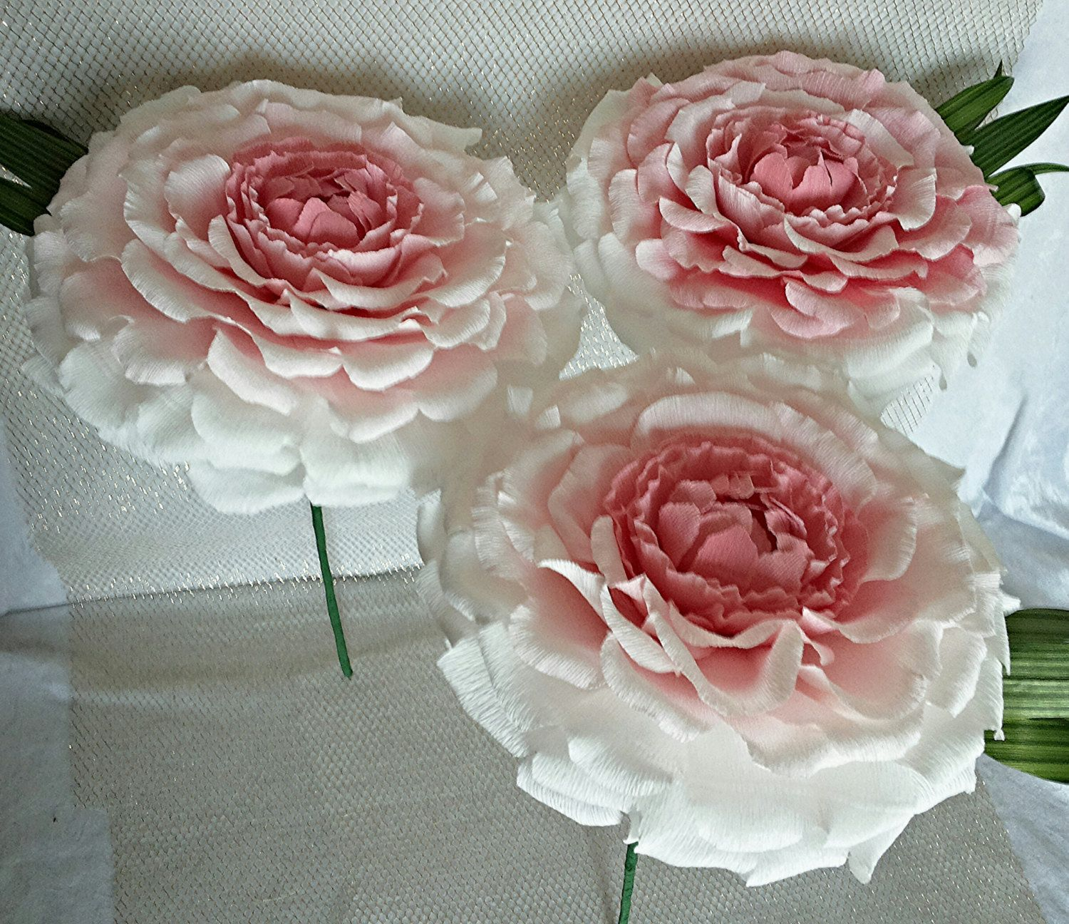 6 Pcs Single Giant Paper Flower For Bridesmaids Pink Paper Peonies