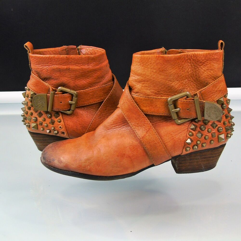 6016353880a Vince Camuto Marcin Bootie Brown Leather Studded Spiked Ankle Boots Size  7.5  VinceCamuto  Booties  Casual