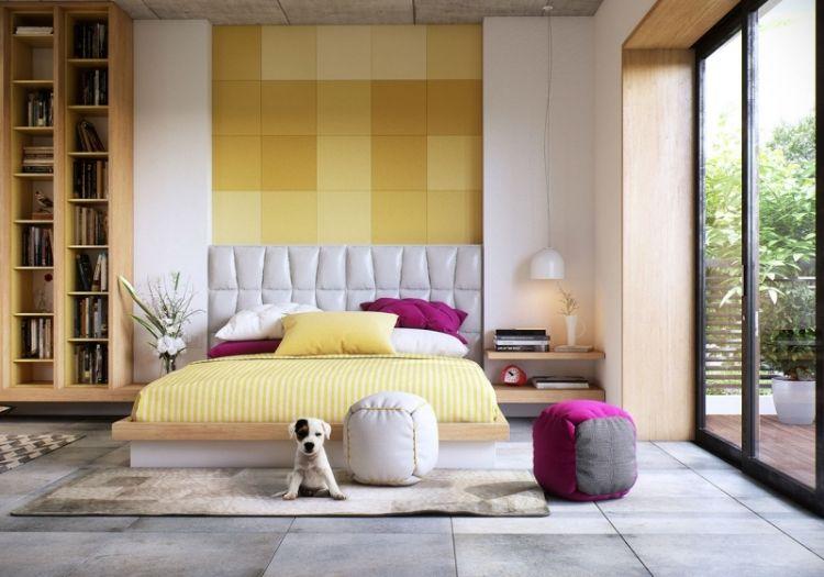 Schlafzimmer in hellen, fröhlichen Farben und direktem Zugang zur - welche farben im schlafzimmer