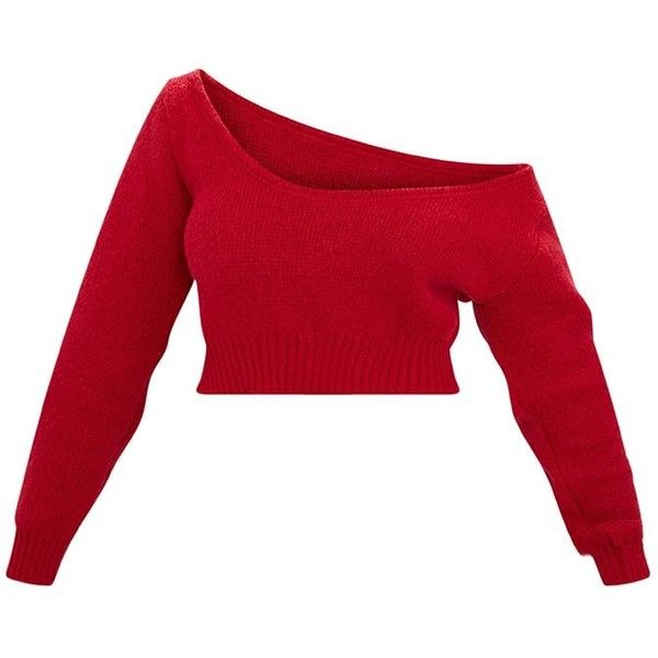 fffa5caf0215e Red Off Shoulder Knitted Cropped Jumper ( 18) ❤ liked on Polyvore featuring  tops