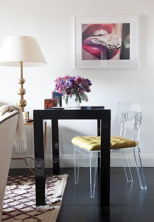 Living Room Work Space Features A Black Lacquered Desk West Elm