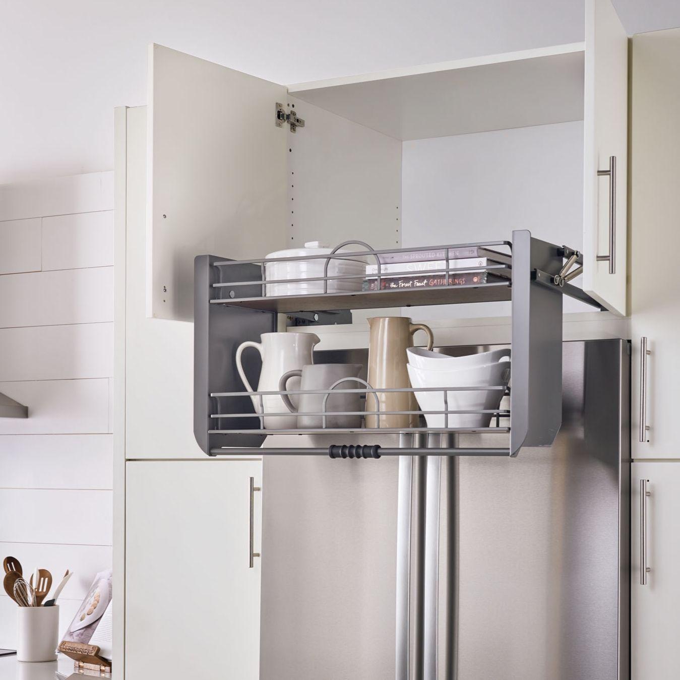 The 5pd Pulldown Shelf Conveniently Brings Hard To Reach Items Down 11 1 2 Rev A Shelf Kitchen And Bath Design Walnut Shelves