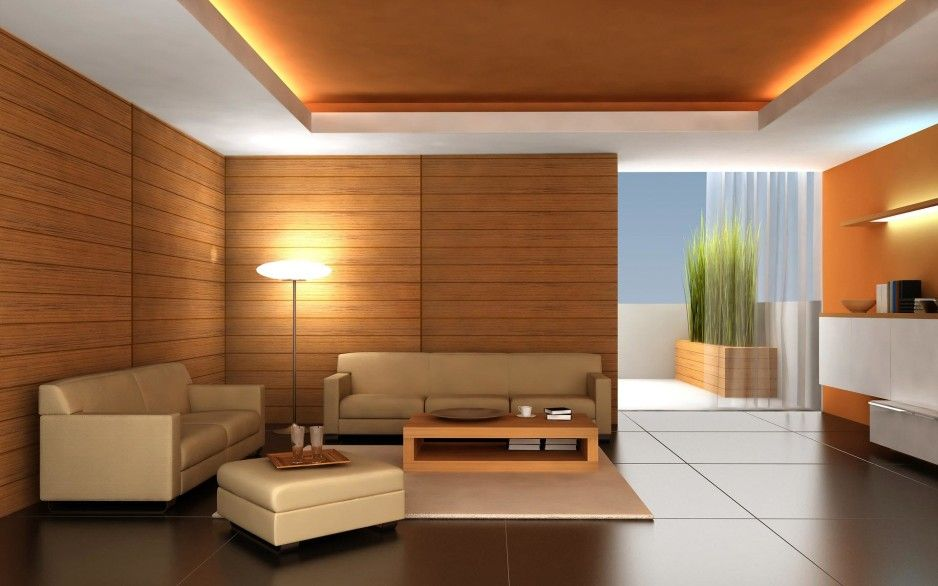 Comfortable Modern Living Room Interior Design With Brown Paneling In  Middle Include Coffered Light