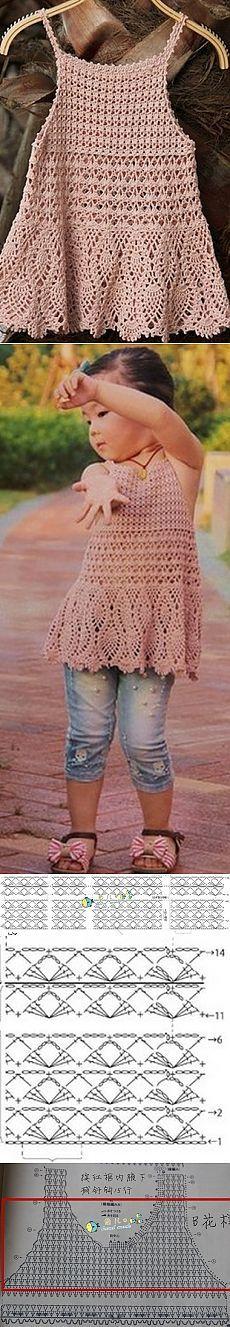 Crianças crochet túnica