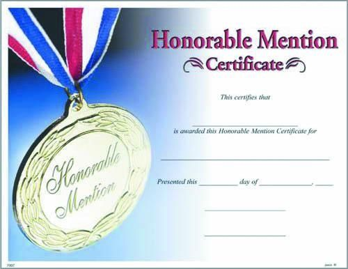 Blank Certificate To Fill In  Photo Honorable Mention Certificate