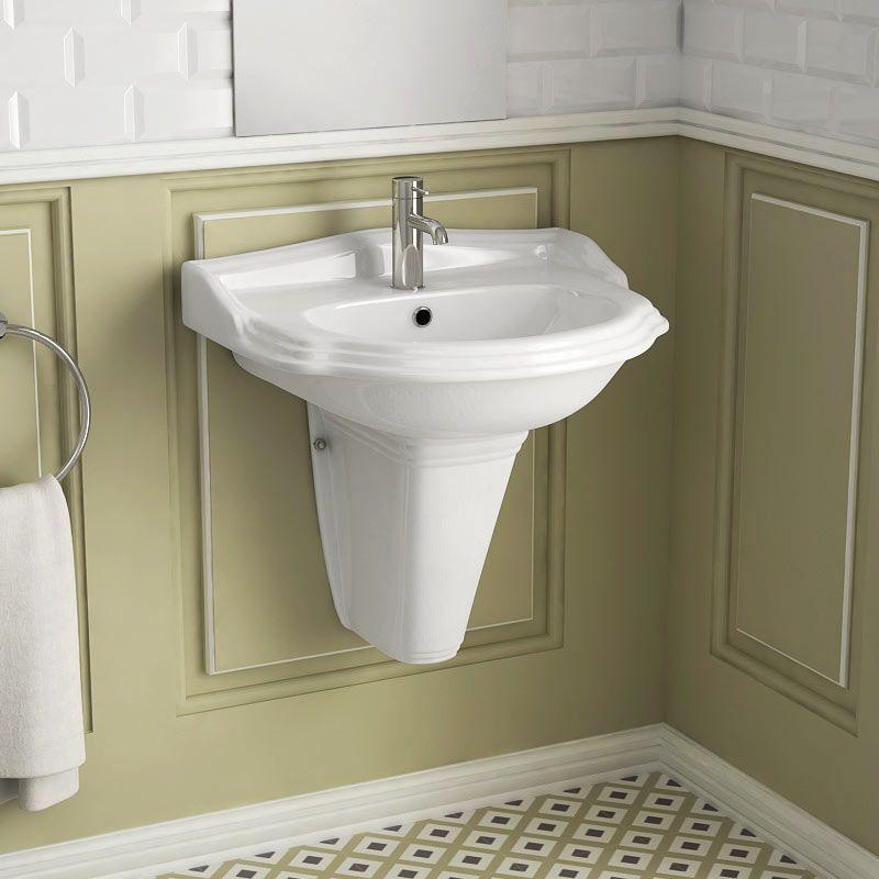 Lavabo suspendu rétro 58x57 Cm, céramique, Laetitia - lavabo retro salle de bain