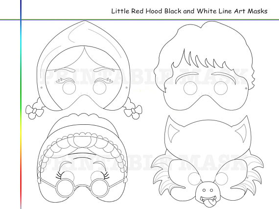 Coloring Pages Little Red Riding Hood Tale Printable Black