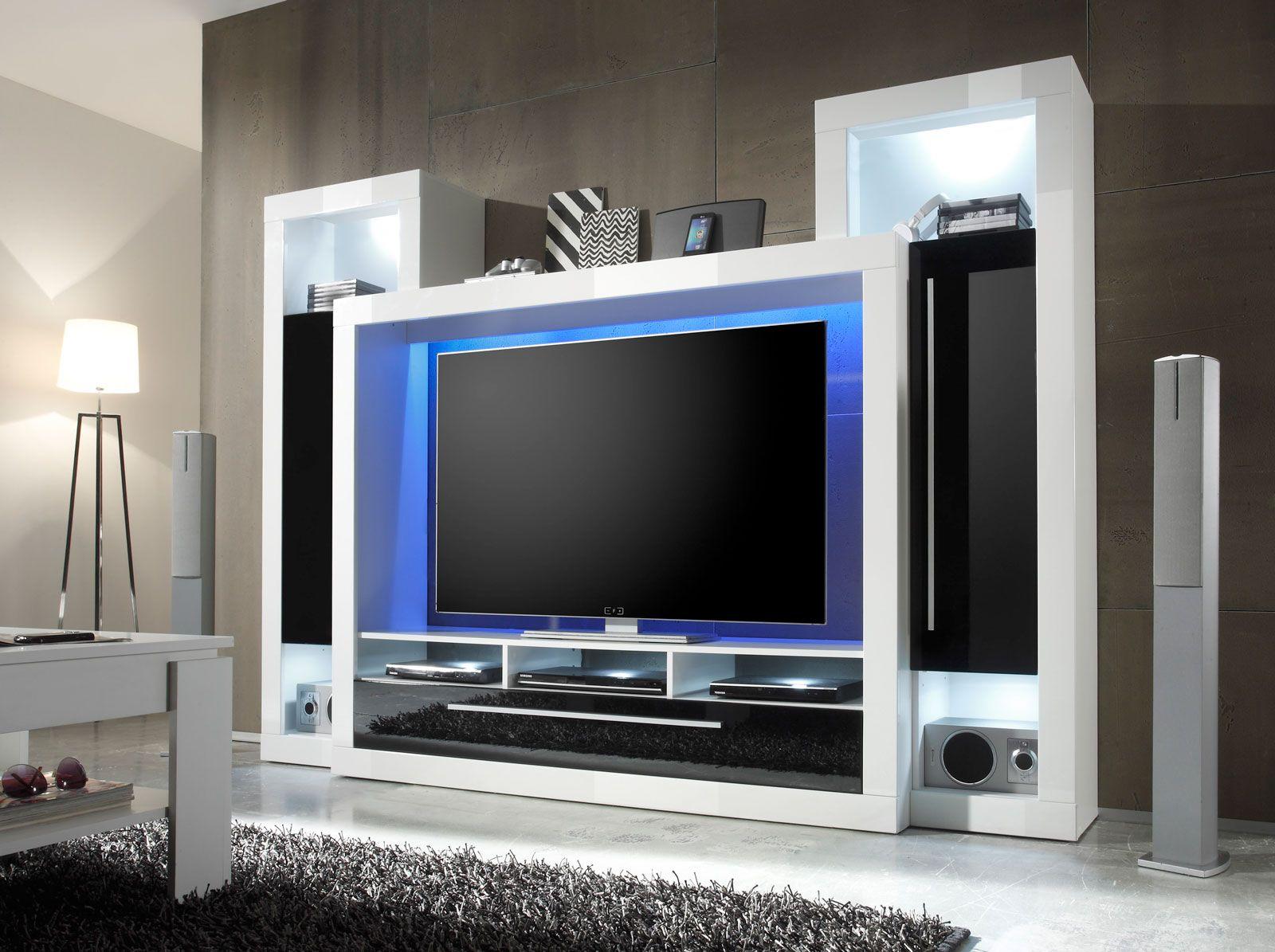 sam wohnwand wei schwarz medox mit beleuchtung praktische beim bel pinterest wohnwand. Black Bedroom Furniture Sets. Home Design Ideas
