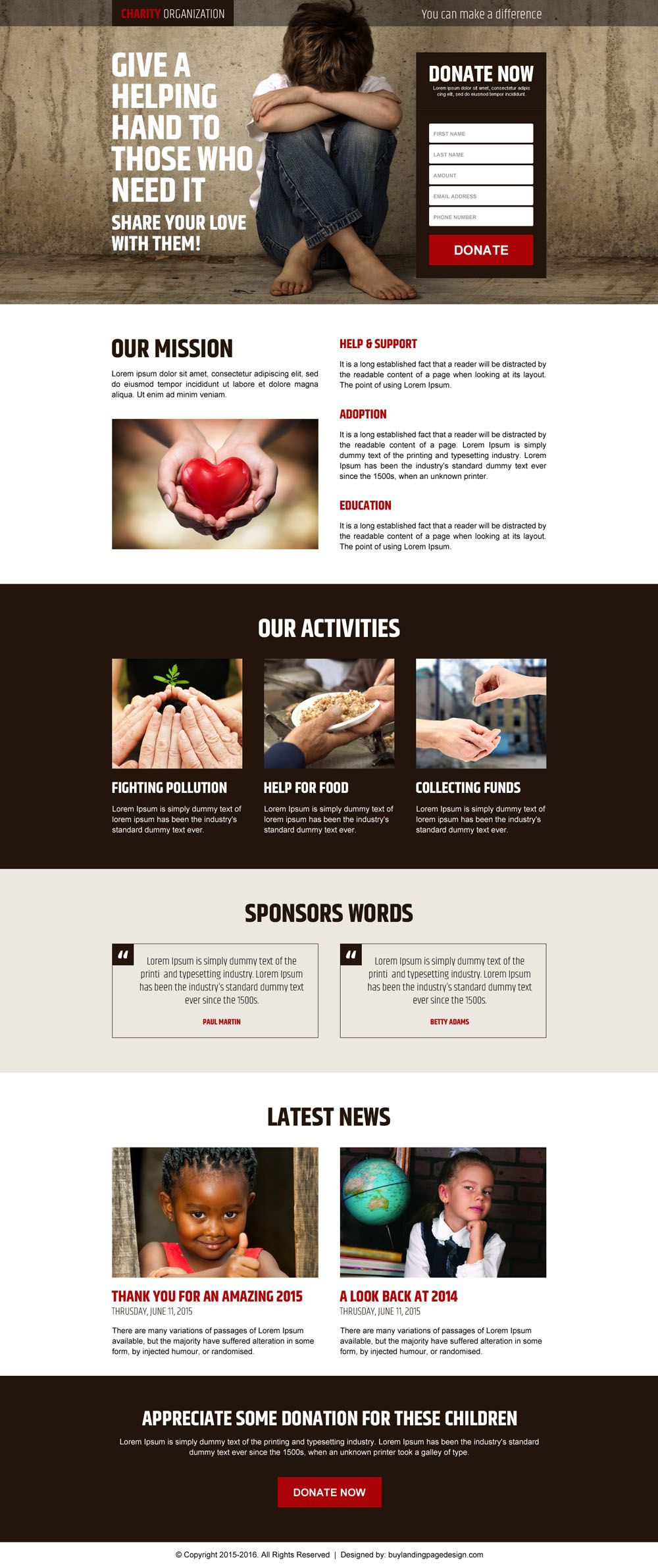 charity organization landing page design templates to capture leads