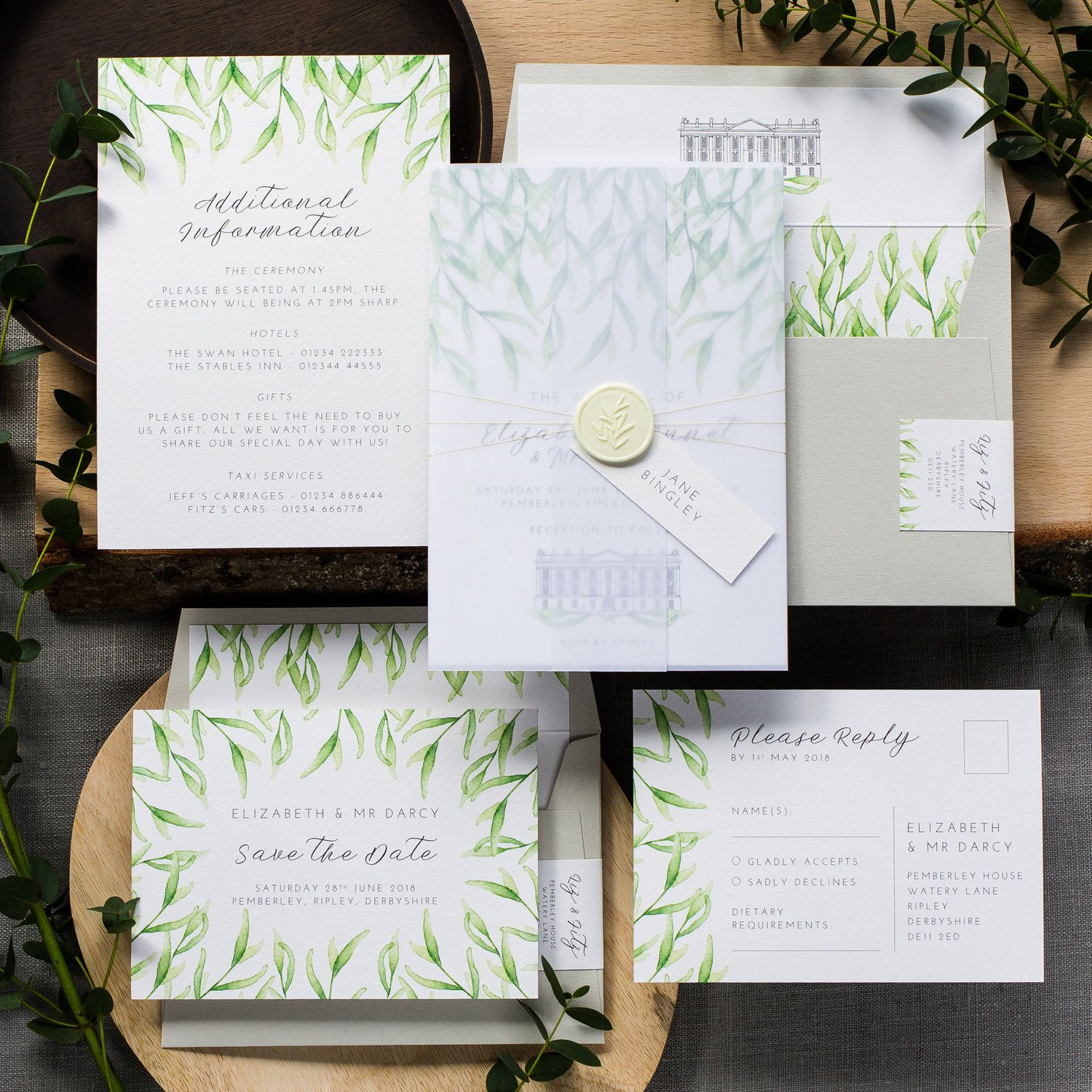 Unique Vellum Wrap And Wax Seal Wedding Stationery Botanical Under