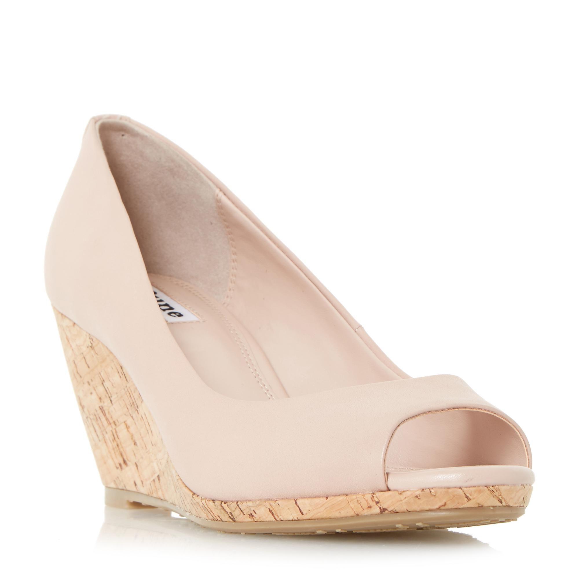 e6ffba40151 DUNE LADIES CADENCE - Peep Toe Cork Wedge Court Shoe - blush