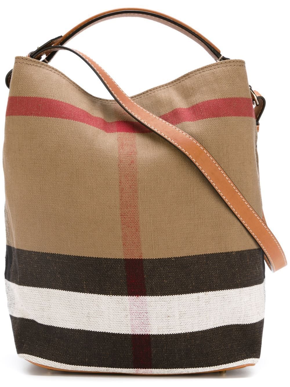 c6c034d40437 Authentic Burberry Medium Ashby in Canvas Check Leather Hobo Bag - Saddle  Brown