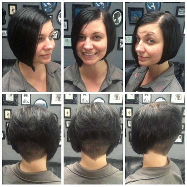 Undercut Shaved Stacked Inverted Bob Haircut Undercut Started Using A 1 5 Guard Up To A 3 Open Then The S Bobs Haircuts Inverted Bob Blunt Bob Hairstyles