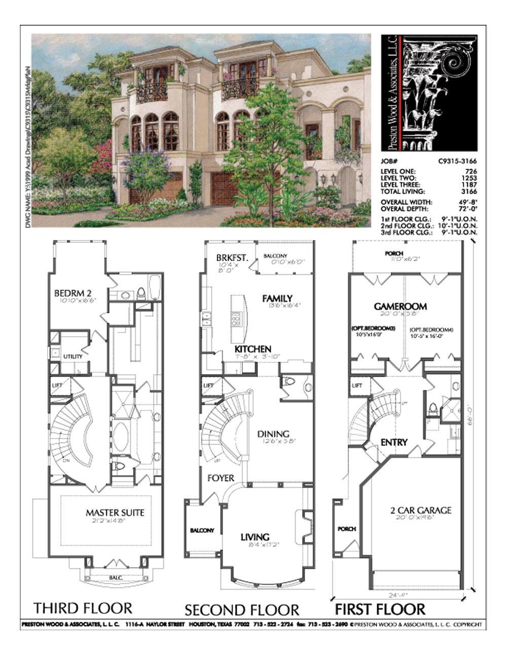 Three Story Duplex Townhome Plan C9315 Beach House Plans How To Plan Luxury Townhouse