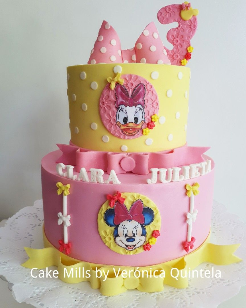 Prime Torta De Daisy Y Minnie Daisy And Minnie Cake With Images Personalised Birthday Cards Vishlily Jamesorg