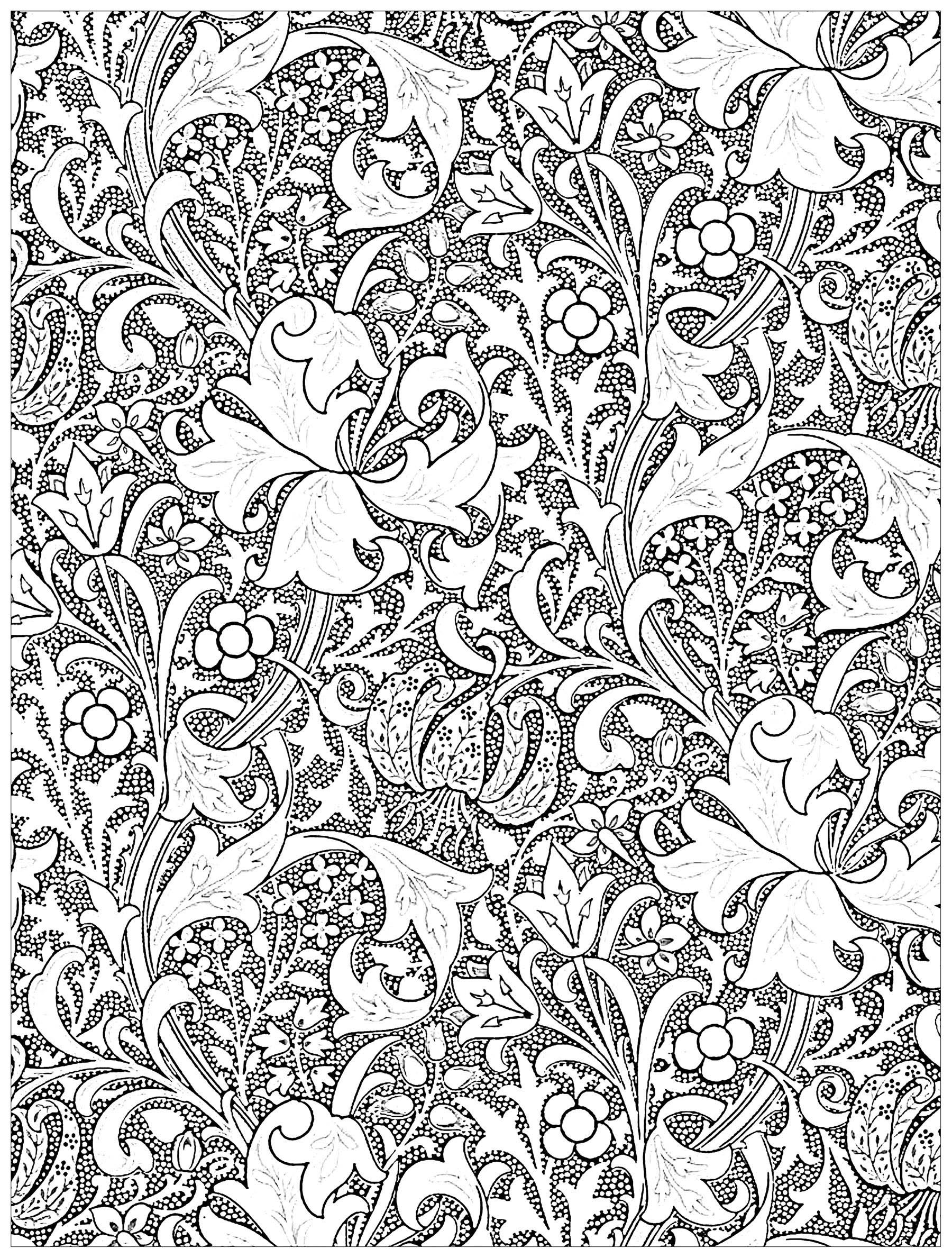 Exclusive coloring page created from textile design \'Golden Lily ...