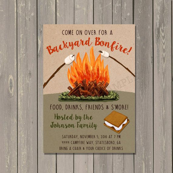 backyard bonfire invitation bonfire party invite camping