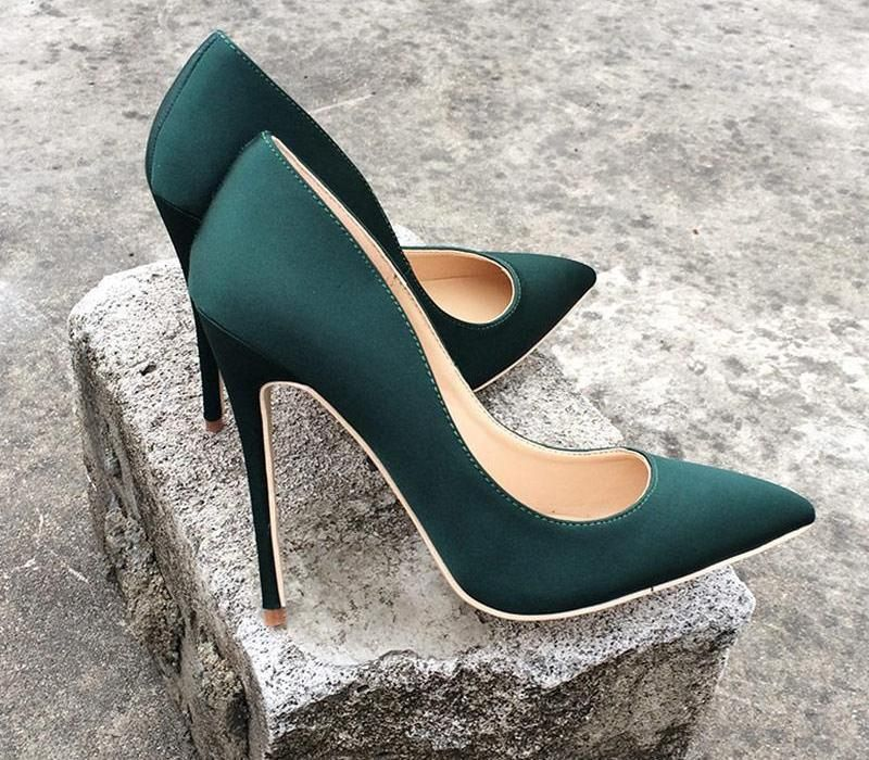 Silk Upper Women Sexy High Heels Elegant Lady Pointed Toe 5