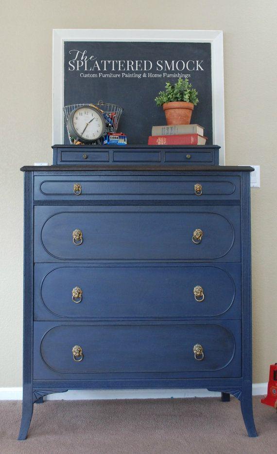 Navy Blue Dresser Hand Painted Antique Tallboy Dresser Navy Painted Furniture Painted Furniture Blue Dresser