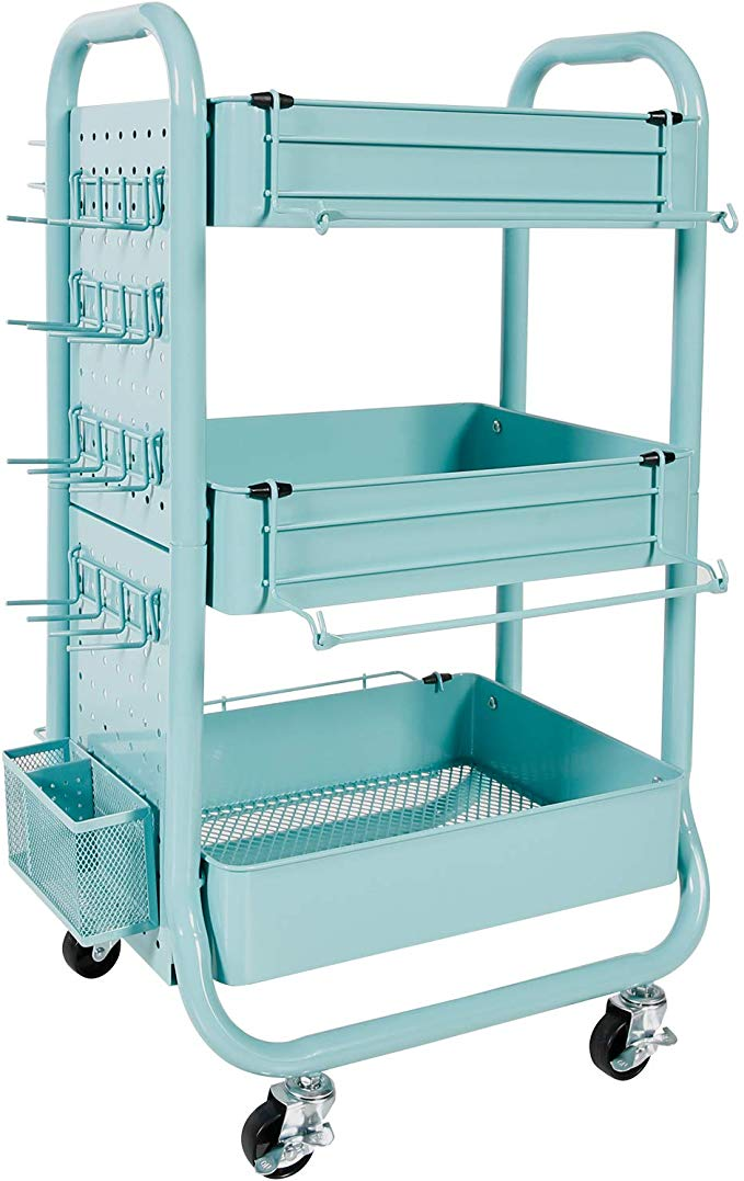 Amazon Com Gramercy Cart By Recollections Teal Office Products Craft Storage Accessories Storage Organized Desk Drawers