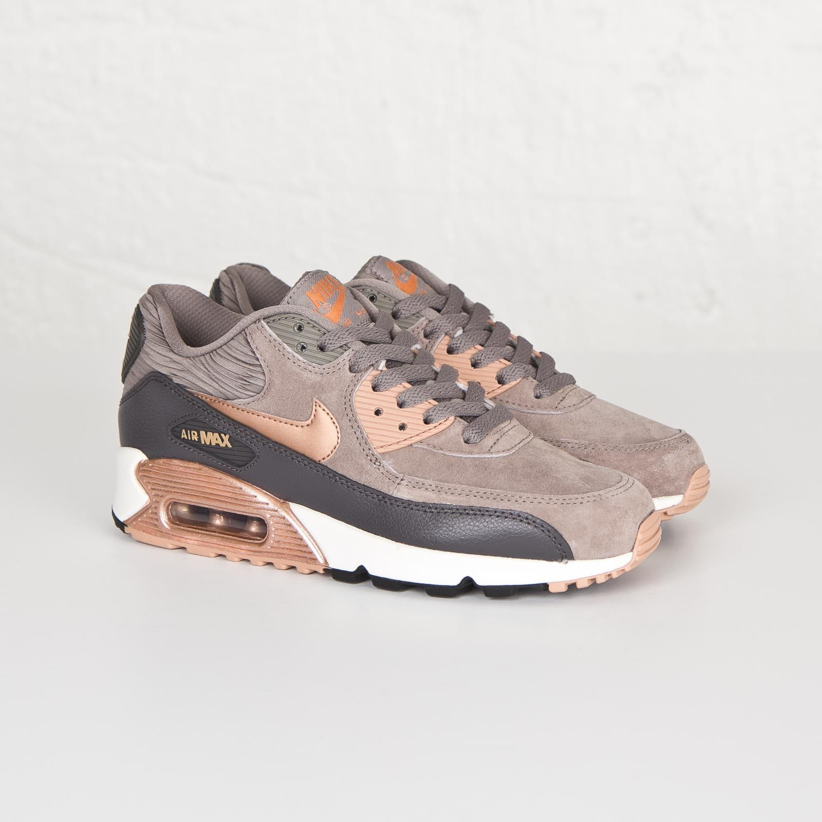 da94f6abc433 Damen Nike Air Max 90 Leather Iron rote Bronze-Sail   Trainers