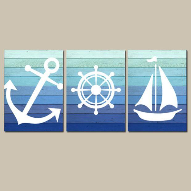 Nautical Wall Art Canvas Or Prints Blue Ombre Wood Effect Background Boy Nursery Bathroom Decor Ocean A In 2020 Nautical Bathroom Decor Nautical Wall Art Nautical Wall