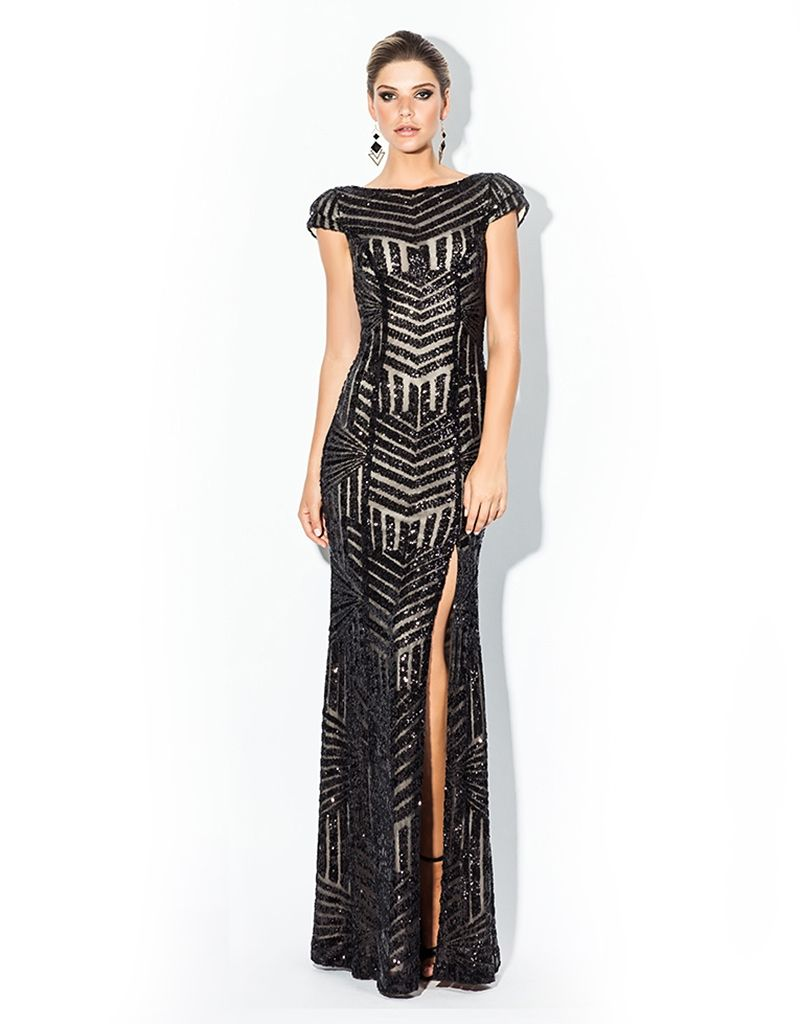 Karmen art deco sequin cap sleeve maxi bariano 7 winter 2 2014 bariano carmen art deco sequin capsleeve find it and other fashion trends online shopping for bariano clothing long sequin gown with cap sleeves split on ombrellifo Image collections