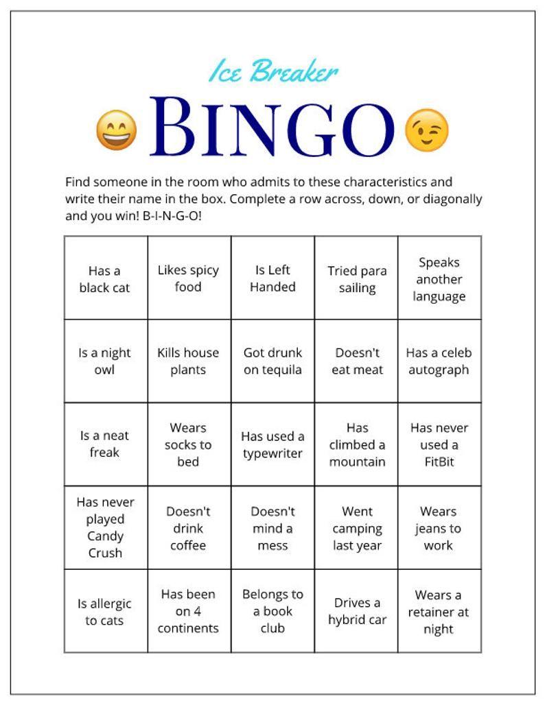 Printable Color Ice Breaker Game Human Bingo Cards Get To Know You Ice Breakers Ice Breaker Games Human Bingo