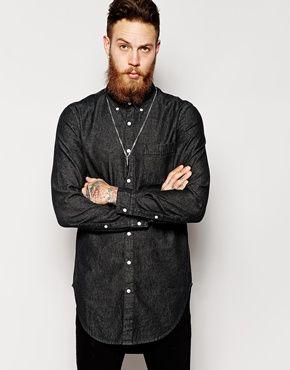 c807352ace ASOS Denim Shirt In Longline With Black Rinse Wash