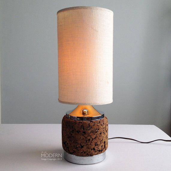 Vintage Mid Century Cork And Chrome Table Desk Lamp