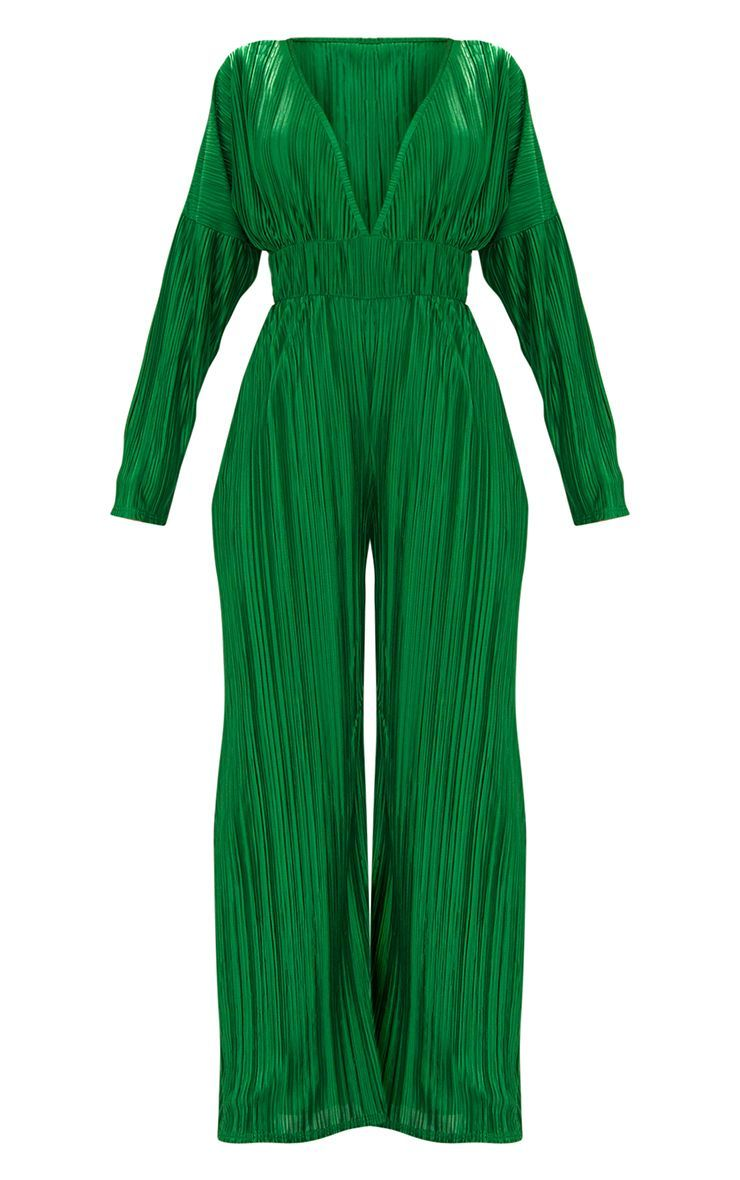 b47dce38c650 Emerald Green Long Sleeve Pleated Jumpsuit