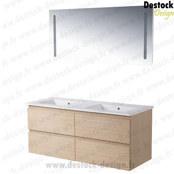 meuble salle de bain double vasque chene