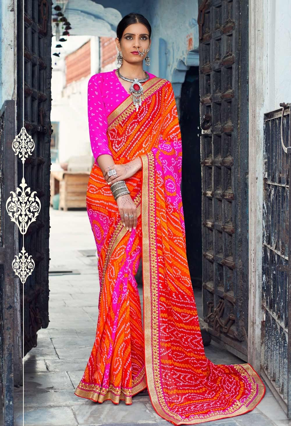 3ce28821c3 Shaded Georgette Jaipuri Bandhani Print Saree with golden heavy lace border