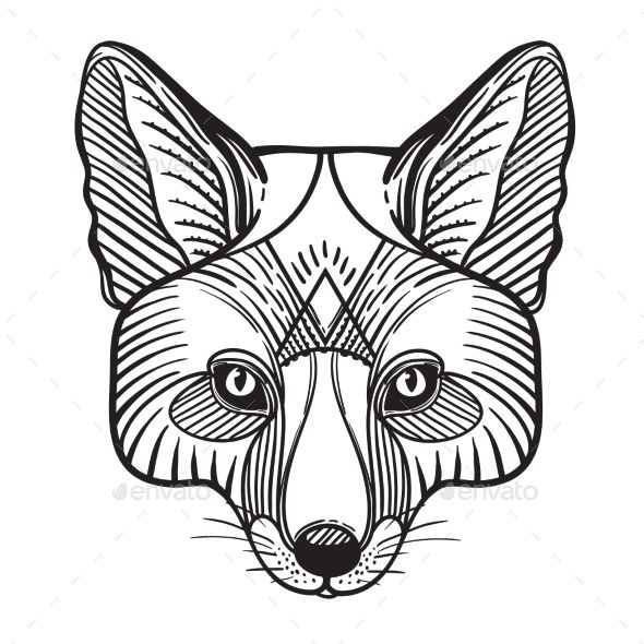 Animal Fox Head Print Fox Coloring Page Hand Drawn Vector