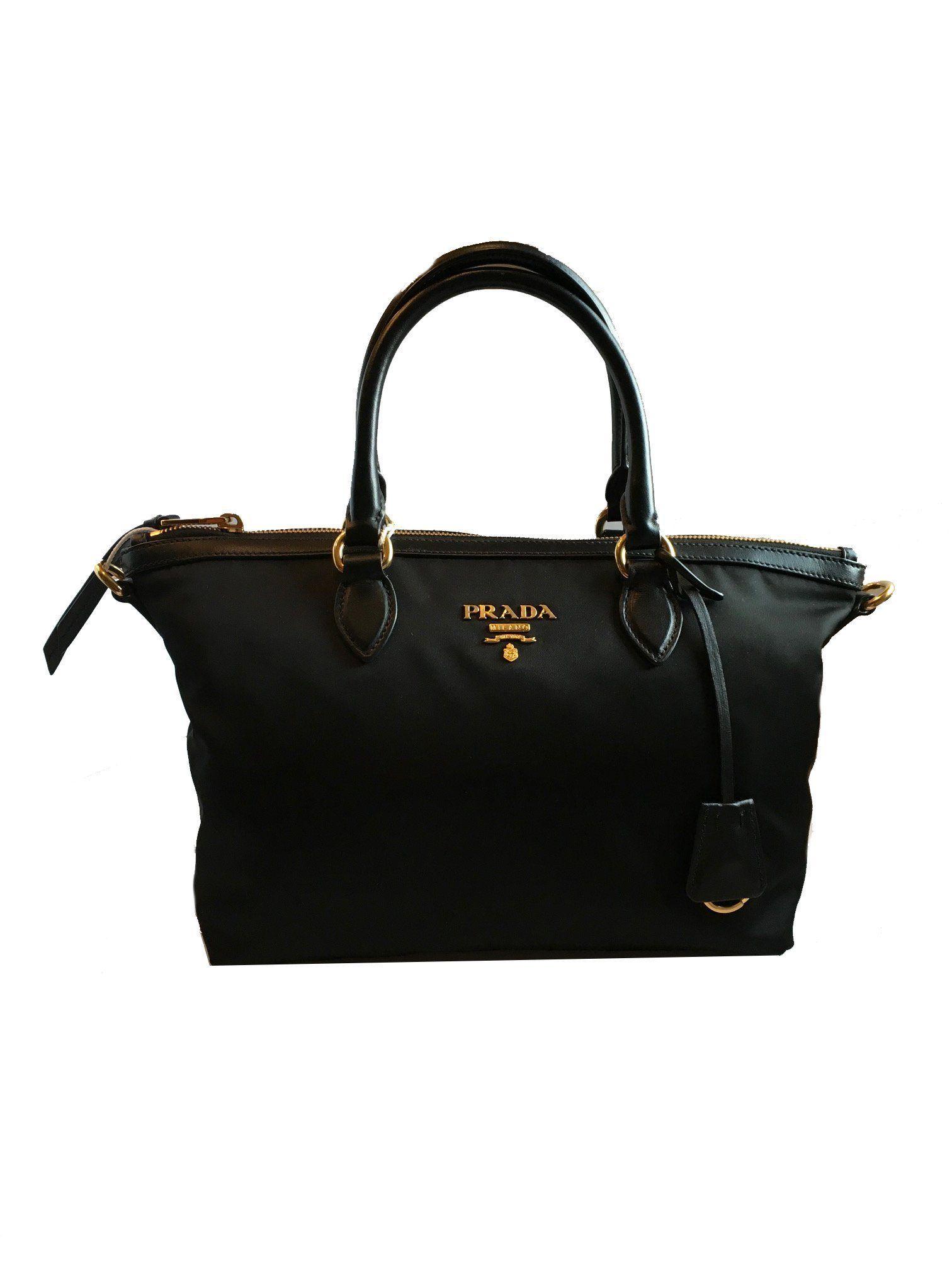 eb480f2c8f2f Prada Women s Black Tessuto Satchel Handbag 1BA104