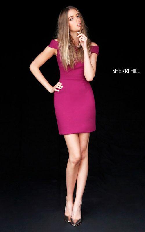Sherri Hill 51423 Short Cap Sleeve Plum Homecoming Dress