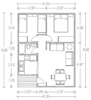 Planos casas de madera prefabricadas casas de 50 m2 cod for Medidas de un carro arquitectura