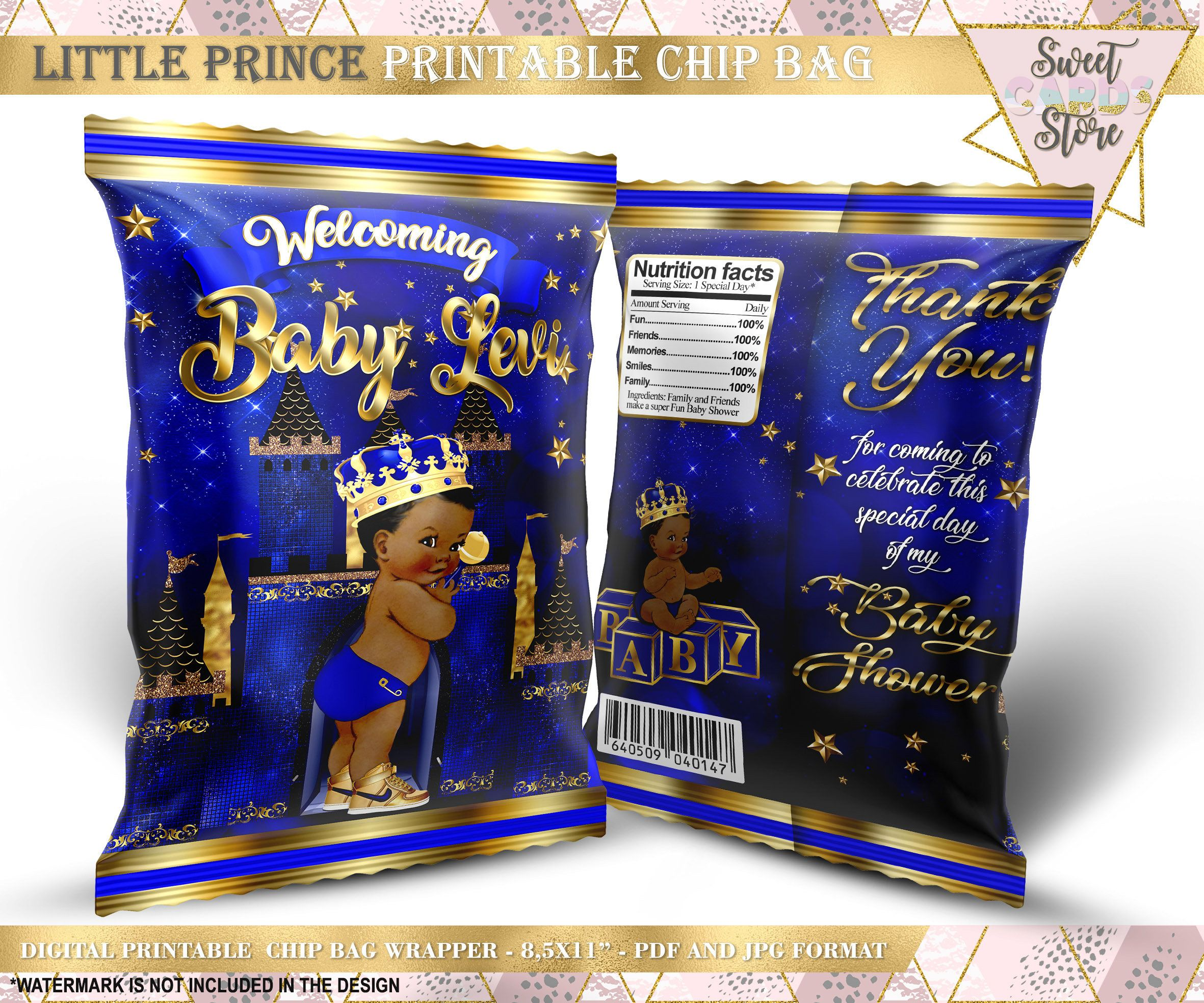 Light Tone Vintage Baby Boy Printable Chip Bags Turquoise Blue Gold Little Prince Rattle Crown Digital Instant Download