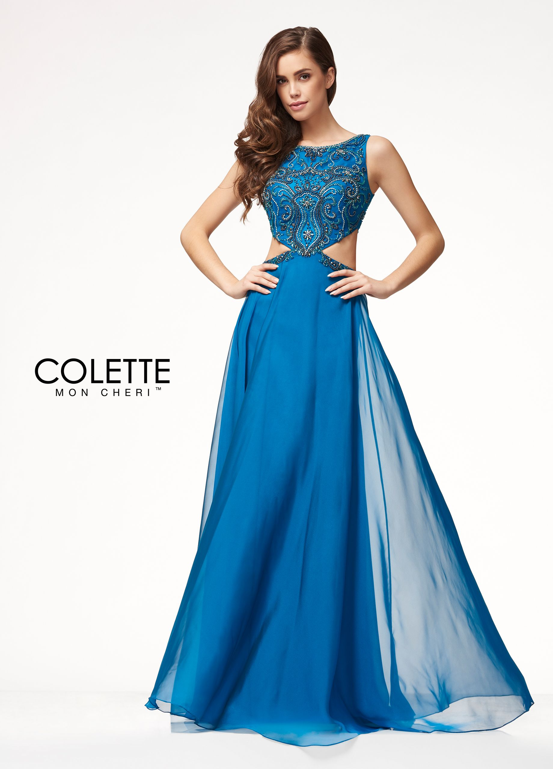 Unique Cut Out Chiffon Prom Dress - Colette for Mon Cheri - CL18277 ...